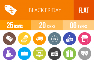 25 Black Friday Flat Round Icons - Overview - IconBunny