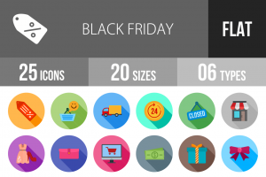 25 Black Friday Flat Shadowed Icons - Overview - IconBunny