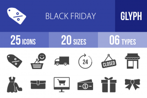 25 Black Friday Glyph Icons - Overview - IconBunny