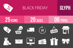 25 Black Friday Glyph Inverted Icons - Overview - IconBunny