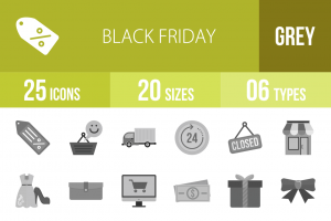 25 Black Friday Greyscale Icons - Overview - IconBunny