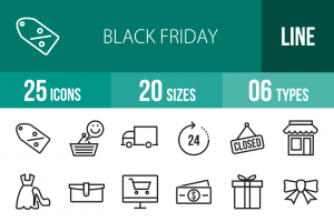 25 Black Friday Line Icons - Overview - IconBunny
