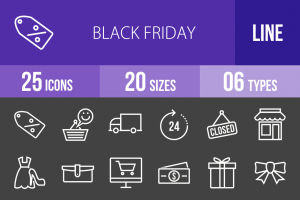 25 Black Friday Line Inverted Icons - Overview - IconBunny