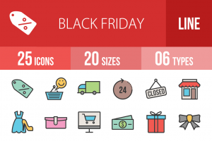 25 Black Friday Line Multicolor Filled Icons - Overview - IconBunny