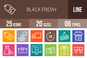 25 Black Friday Line Multicolor B/G Icons - Overview - IconBunny