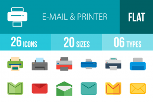 26 Email & Printers Flat Multicolor Icons - Overview - IconBunny