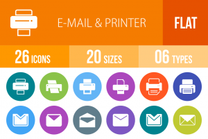 26 Email & Printers Flat Round Icons - Overview - IconBunny