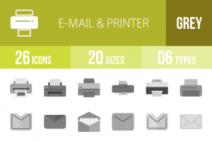 26 Email & Printers Greyscale Icons - Overview - IconBunny