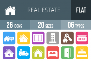 26 Real Estate Flat Round Corner Icons - Overview - IconBunny
