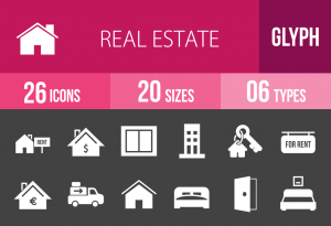 26 Real Estate Glyph Inverted Icons - Overview - IconBunny