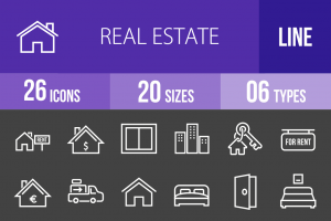 26 Real Estate Line Inverted Icons - Overview - IconBunny