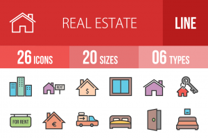 26 Real Estate Line Multicolor Filled Icons - Overview - IconBunny