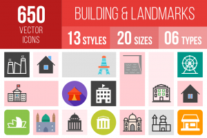 Buildings & Landmarks Icons Bundle - Overview - IconBunny