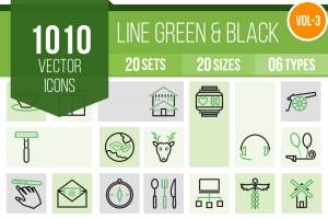 1010 Line Green & Black Icons Bundle - Overview - IconBunny