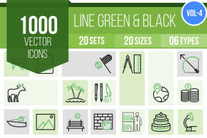 1000 Line Green & Black Icons Bundle - Overview - IconBunny