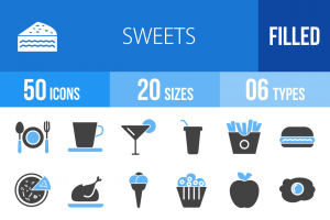 30 Sweets & Confectionery Blue & Black Icons - Overview - IconBunny