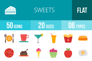 30 Sweets & Confectionery Flat Multicolor Icons - Overview - IconBunny