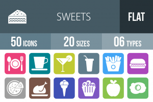 30 Sweets & Confectionery Flat Round Corner Icons - Overview - IconBunny