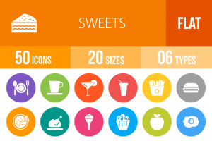 30 Sweets & Confectionery Flat Round Icons - Overview - IconBunny