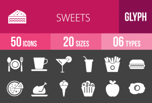 30 Sweets & Confectionery Glyph Inverted Icons - Overview - IconBunny