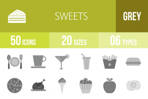 30 Sweets & Confectionery Greyscale Icons - Overview - IconBunny