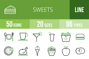 30 Sweets & Confectionery Line Green & Black Icons - Overview - IconBunny