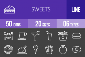 30 Sweets & Confectionery Line Inverted Icons - Overview - IconBunny