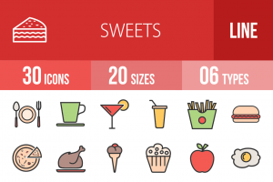 30 Sweets & Confectionery Line Multicolor Filled Icons - Overview - IconBunny
