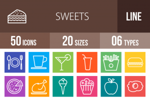 30 Sweets & Confectionery Line Multicolor B/G Icons - Overview - IconBunny