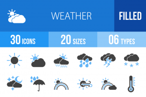 30 Weather Blue & Black Icons - Overview - IconBunny
