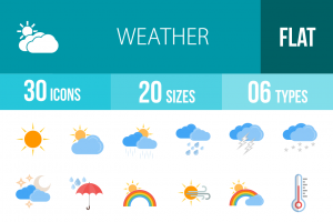 30 Weather Flat Multicolor Icons - Overview - IconBunny