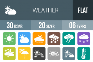 30 Weather Flat Round Corner Icons - Overview - IconBunny