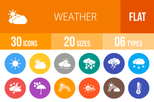30 Weather Flat Round Icons - Overview - IconBunny