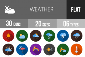 30 Weather Flat Shadowed Icons - Overview - IconBunny