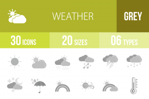30 Weather Greyscale Icons - Overview - IconBunny
