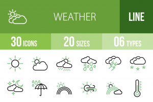 30 Weather Line Green & Black Icons - Overview - IconBunny
