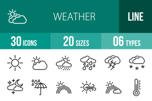 30 Weather Line Icons - Overview - IconBunny