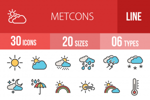 30 Weather Line Multicolor Filled Icons - Overview - IconBunny