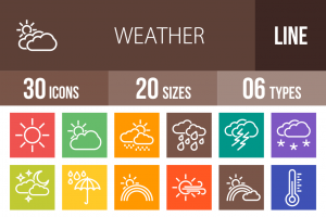 30 Weather Line Multicolor B/G Icons - Overview - IconBunny
