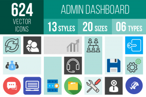 Admin Dashboard Icons Bundle - Overview - IconBunny