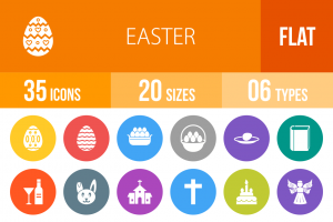 35 Easter Flat Round Icons - Overview - IconBunny