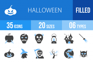 35 Halloween Blue & Black Icons - Overview - IconBunny