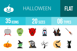 35 Halloween Flat Multicolor Icons - Overview - IconBunny