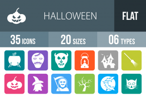 35 Halloween Flat Round Corner Icons - Overview - IconBunny
