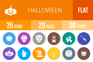 35 Halloween Flat Round Icons - Overview - IconBunny