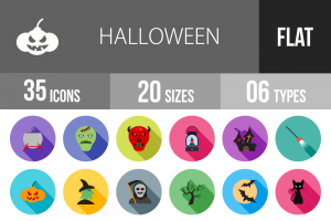 35 Halloween Flat Shadowed Icons - Overview - IconBunny
