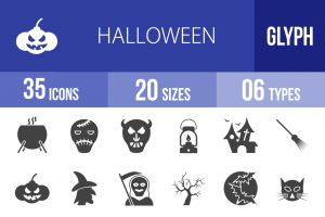 35 Halloween Glyph Icons - Overview - IconBunny