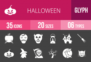 35 Halloween Glyph Inverted Icons - Overview - IconBunny