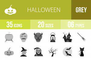 35 Halloween Greyscale Icons - Overview - IconBunny