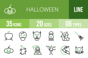 35 Halloween Line Green & Black Icons - Overview - IconBunny